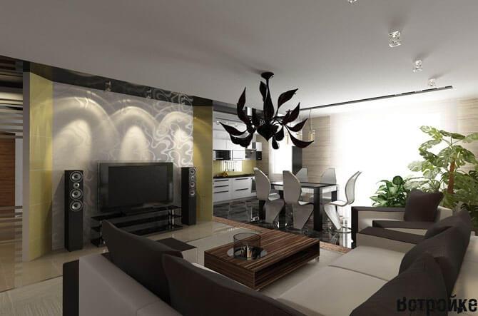 гостиная столовая кухня интерьер фото